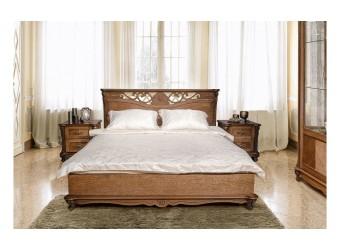 Кровать двойная Алези с низким изножьем (табак)