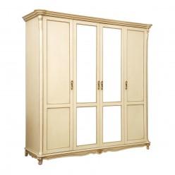 Шкаф 4-х дверный Алези  слоновая кость с золочением П349.02