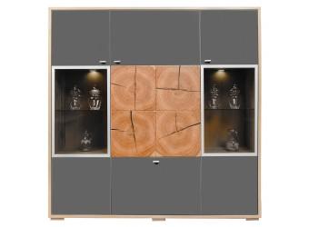 Шкаф-витрина «Гелиос» П550.02 (дуб вотан/серый глянец)