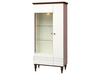 Шкаф-витрина «Ирис» П529.04  (белый глянец/дуб рустикаль)