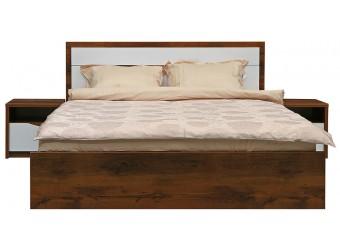 Кровать двойная «Монако» П528.05 (дуб саттер/белый глянец)