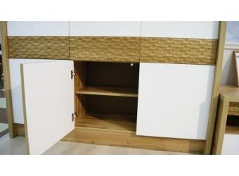 Шкаф с витриной «Рондо 6» П553.06 (дуб Вотан+белый)