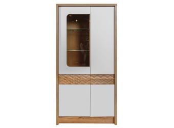 Шкаф с витриной «Рондо 9» П553.09 (дуб Вотан+белый)