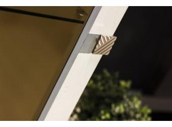 Шкаф с витриной «Тунис» П343.21Ш (слоновая кость с серебром)