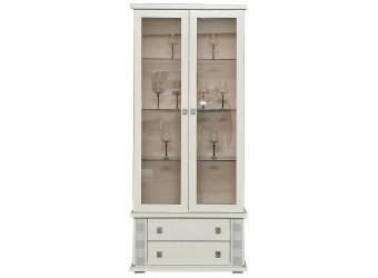 Шкаф с витриной «Тунис» П343.12Ш (слоновая кость с серебром)