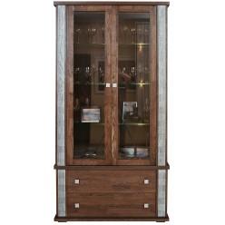 Шкаф с витриной «Тунис» П343.20Ш (венге с серебром)