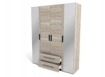 Четырехстворчатый шкаф для одежды СМ-13 Мале с зеркалом