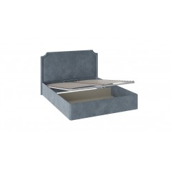 Двуспальная кровать с мягким изголовьем и подъемным механизмом «Кантри» (Замша синяя) ТД-308.01.09