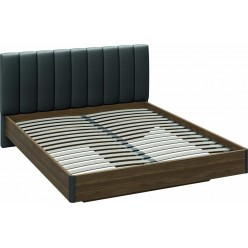 Двуспальная кровать «Харрис» с мягким изголовьем (Дуб американский/Серебряный гранит) СМ-302.01.004