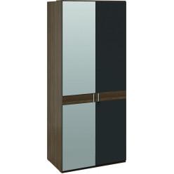 Шкаф для одежды с 1 глухой и 1 зеркальной дверями «Харрис» (Дуб американский/Серебряный гранит) СМ-302.07.004