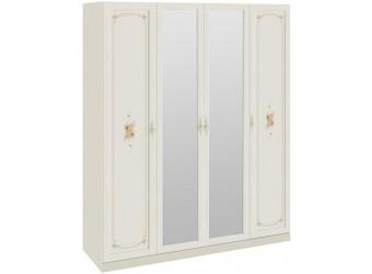 Шкаф для одежды и белья с 2 глухими дверями и 2 зеркальными «Лючия» (Штрихлак) СМ-235.07.13