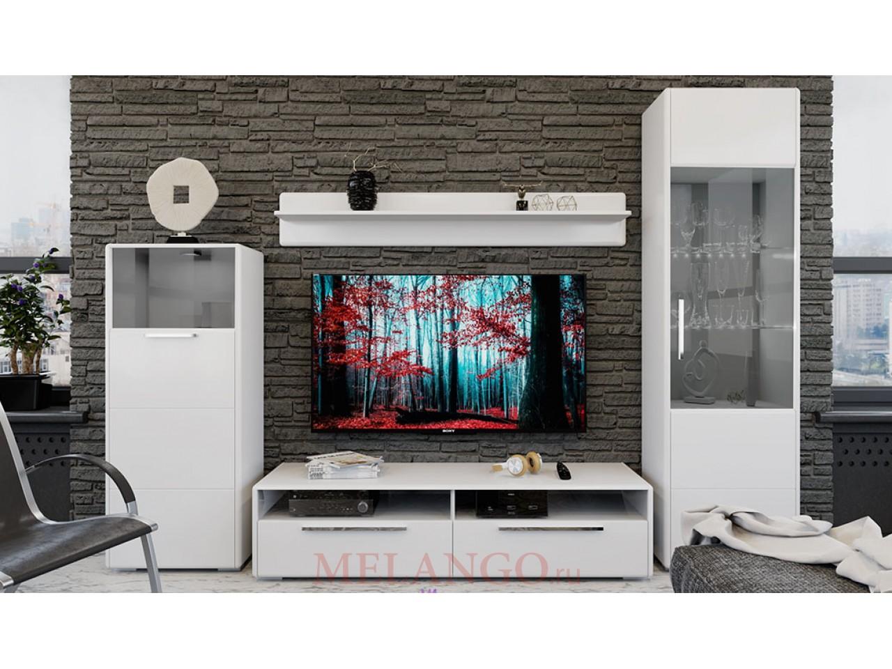 Гостиная «Наоми» №4 (Белый глянец) ГН-208.104