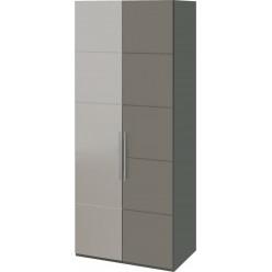 Шкаф с 1-й глухой и 1-й зеркальной левой дверями «Наоми» (Фон серый, Джут) СМ-208.07.04 L