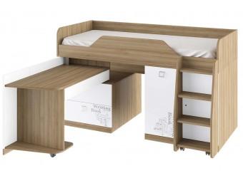Кровать комбинированная «Оксфорд» (Ривьера/Белый с рисунком) ТД-139.11.03