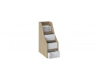 Кровать 2-х ярусная с лестницей приставной с ящиками «Оксфорд» (Ривьера/Белый с рисунком) СМ-139.11.012