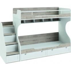 Кровать двухъярусная с приставной лестницей «Ривьера» (Дуб Бонифацио/Белый) СМ 241.11.12