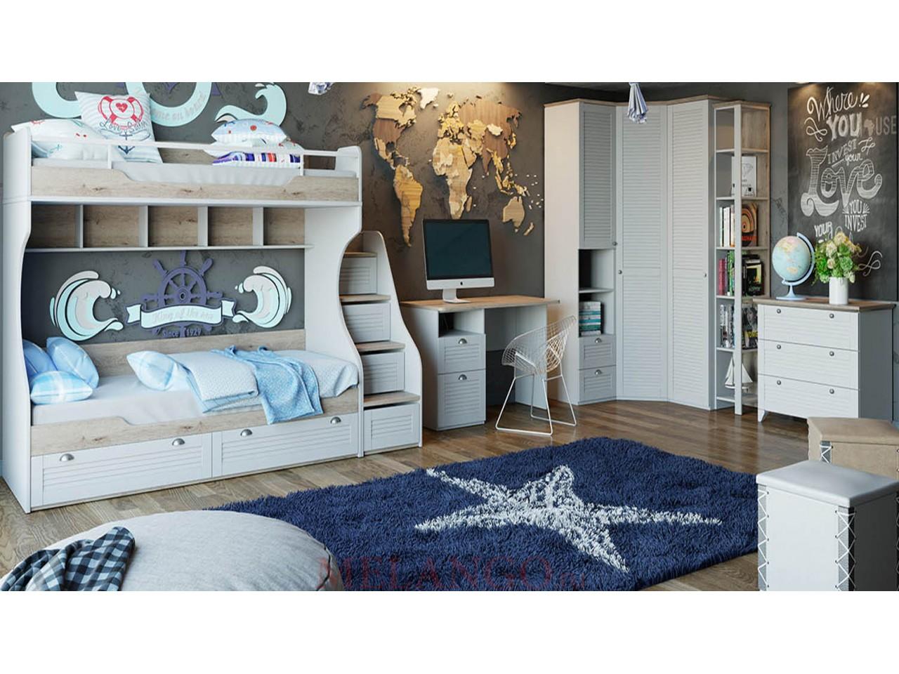 Набор детской мебели «Ривьера» №2 (Дуб Бонифацио/Белый) ГН-241.102