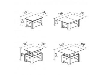 Раздвижной журнальный столик Агат 24.10 дуб венге, синга крем