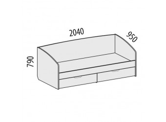 Односпальная кровать Британия 52.11 с выдвижными ящиками