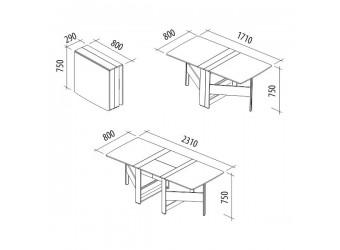 Раскладной стол-книжка Колибри 12.2 дуб венге, дуб кобург