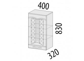Навесной кухонный шкаф Каролина 11.23 с решеткой
