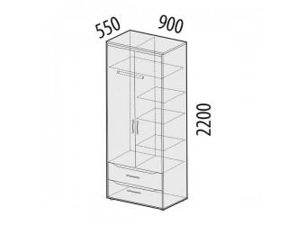 Двухстворчатый шкаф для одежды Мегаполис 55.01