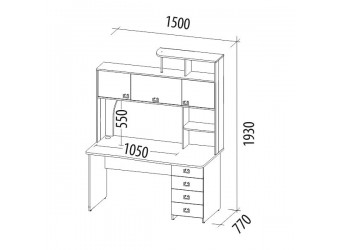 Компьютерный стол Орион 6.10 дуб венге, дуб кобург