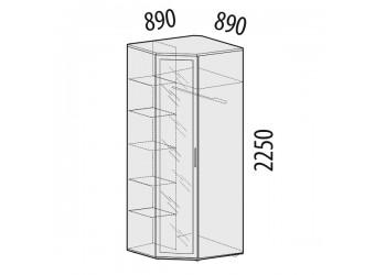 Угловой шкаф для одежды с зеркалом Розали 96.09 левый