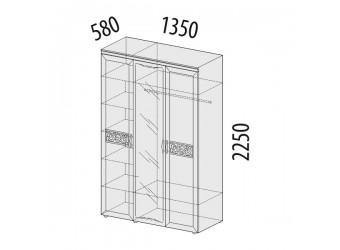 Трехстворчатый шкаф для одежды с зеркалом Тиффани 93.12