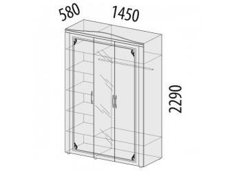 Трехстворчатый шкаф для одежды с зеркалом Версаль 99.12