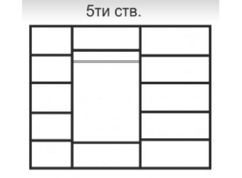 Пятистворчатый шкаф для одежды Rimini Solo РМШ2/5 (s) (черный)