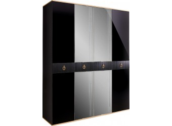 Четырехстворчатый шкаф для одежды с зеркалом Rimini Solo РМШ1/4 (s) (черный)