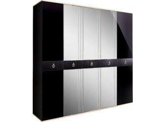 Пятистворчатый шкаф для одежды с зеркалом Rimini Solo РМШ1/5 (s) (черный)