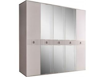 Пятистворчатый шкаф для одежды с зеркалом Rimini Solo РМШ1/5 (s) (слоновая кость)