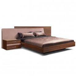 Двуспальная кровать с мягкой спинкой Челси Элеганс ЧКР-2(Э) (орех, розовый)