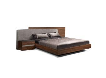 Двуспальная кровать с мягкой спинкой Челси Элеганс ЧКР-2(Э) (орех, серый)