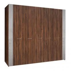 Пятистворчатый шкаф для одежды Челси Элеганс ЧШ2/5(Э) (орех, серый)