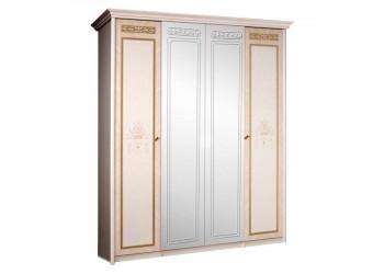 Четырехстворчатый шкаф для одежды с зеркалом Карина-3 К3Ш1/4 с шелкографией (бежевый)