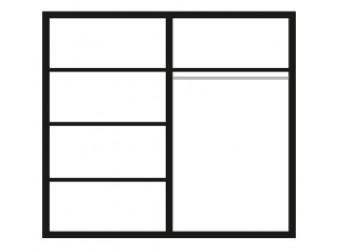 Четырехстворчатый шкаф для одежды с зеркалом Карина-3 К3Ш1/4 с шелкографией (орех)