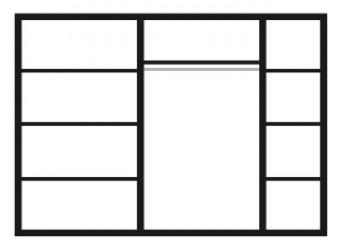 Пятистворчатый шкаф для одежды с зеркалом Карина-3 К3Ш1/5 с шелкографией (орех)