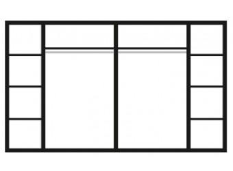 Шестистворчатый шкаф для одежды с зеркалом Карина-3 К3Ш1/6 с шелкографией (бежевый)