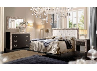 Спальня Тиффани Премиум (черный, серебро)