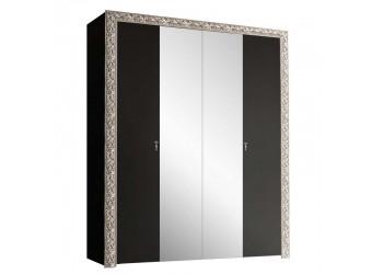 Четырехстворчатый шкаф для одежды с зеркалом Тиффани Премиум ТФШ1/4(П) (черный, серебро)