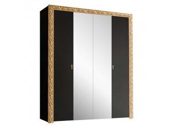 Четырехстворчатый шкаф для одежды с зеркалом Тиффани Премиум ТФШ1/4(П) (черный, золото)