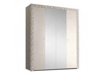 Четырехстворчатый шкаф для одежды с зеркалом Тиффани Премиум ТФШ1/4(П) (слоновая кость, серебро)