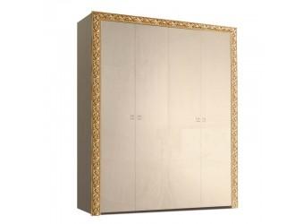 Четырехстворчатый шкаф для одежды Тиффани Премиум ТФШ2/4(П) (капучино, золото)