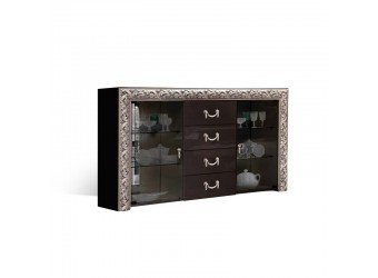 Комод-витрина для посуды Тиффани Премиум ТФКМ-3(П) (черный, серебро)