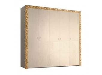 Пятистворчатый шкаф для одежды Тиффани Премиум ТФШ2/5(П) (капучино, золото)