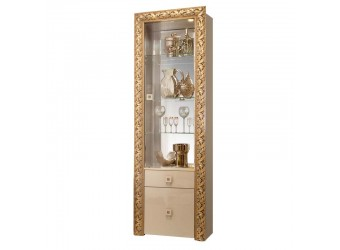 Шкаф-витрина для посуды Тиффани Премиум ТФВ1-1С(П) (капучино, золото)