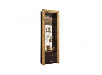 Шкаф-витрина для посуды Тиффани Премиум ТФВ3-1С(П) (черный, золото)